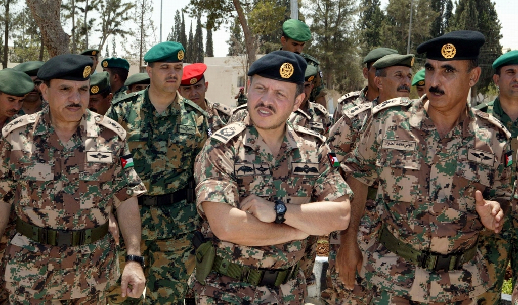 King Abdullah II of Jordan with Jordanian Special Forces officers and enlisted men.